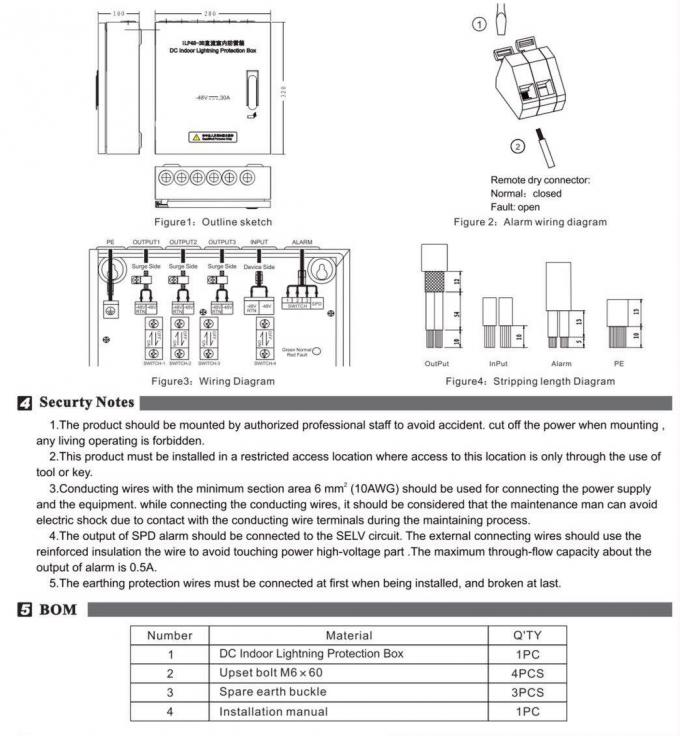 ILP48-3B IBS Components Opreation Instruction For DC Indoor Lightning Protection Box
