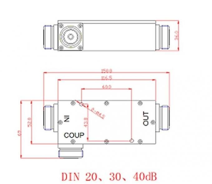 698 - 2700MHz  7/16 Din Female 20dB Coaxial RF Directional Coupler