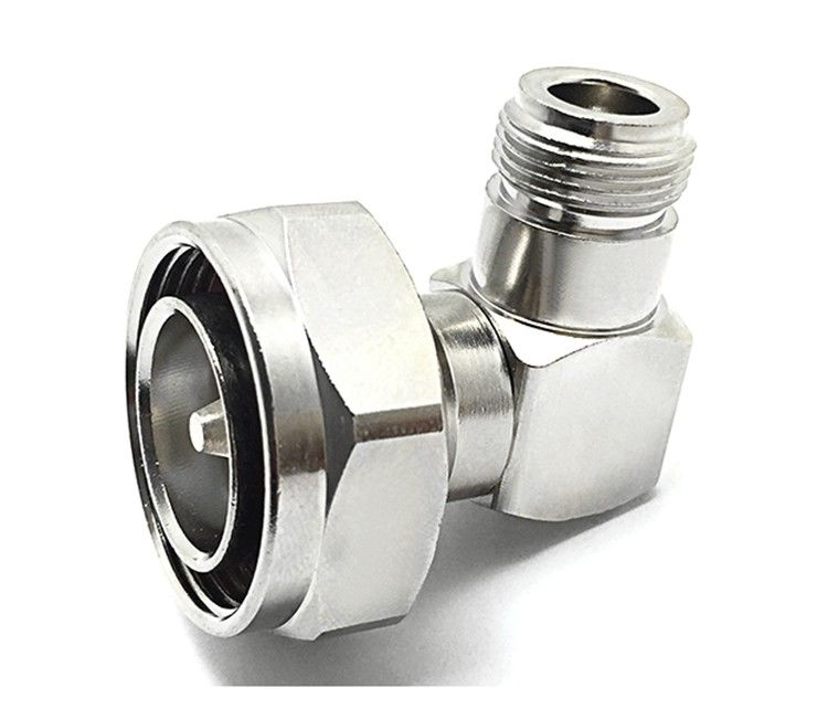 7/16 DIN Male To N Female Right Angle Coaxial Cable Connector 2500V Rms Dielectric Strength