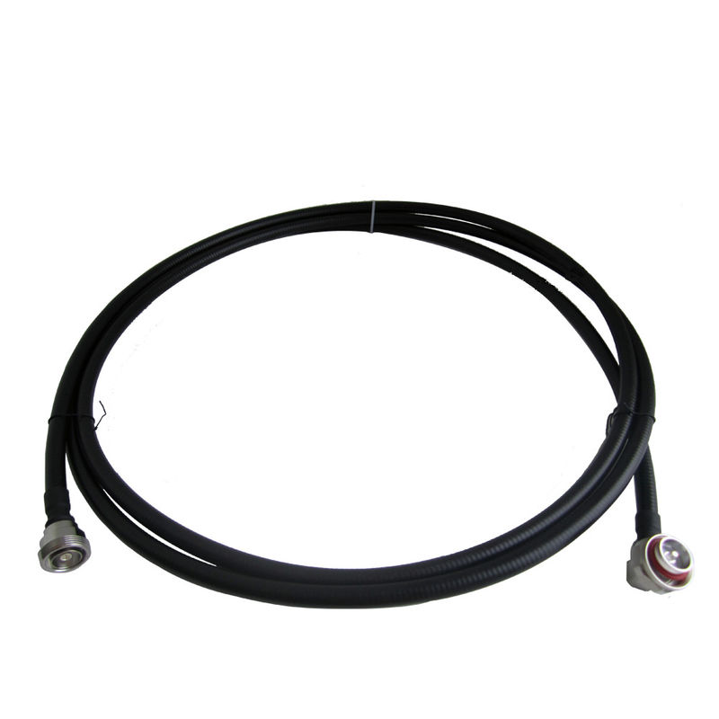 RF Low PIM 3 Meter Jumper 1/2'' Super Flexible Coaxial Cable With DIN Male Right Angle To DIN Female Connector