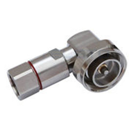 China Micro RF Coaxial Connectors DIN male Right angle  For 1 / 2 '' Flexible Cable factory
