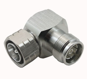 China MINI DIN Type rf coaxial connector 4.3/10 Male to 4.3/10 Female Right Angle Adapter factory